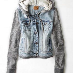 AEO | Denim Vested Sweatshirt Hoodie